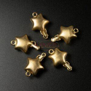 Schnappschließe Stern 925 Silber vergoldet MATT 21mm 1x