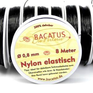 Nylon elastisch • schwarz • 0,8mm • 1 Rolle