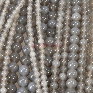 Achat Kugel Natur grau 2 – 16 mm, 1 Strang