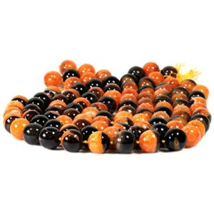 Agate balls glossy orange black approx. 18 mm, 1 strand