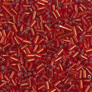 perles de bugle Miyuki BGL1-010 rouge flamme argenté 5g