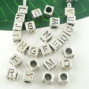 Großlochperle Modulperle Buchstaben A-Z Würfel 7x7mm silber