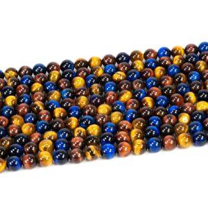 Tigerauge Kugel glanz Mix blau 6 – 8mm, 1 Strang