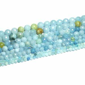 Aquamarin Kugel facettiert hellblau 2 – 12 mm, 1 Strang