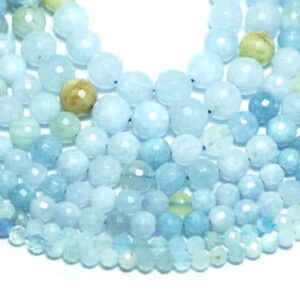 Aquamarine ball faceted light blue 2 – 12 mm, 1 strand