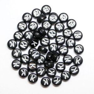 K Buchstabenperlen Schwarz Kunststoff 7×4 mm