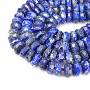 Lapis lazuli rondelle faceted 7 x 15 mm, 1 strand