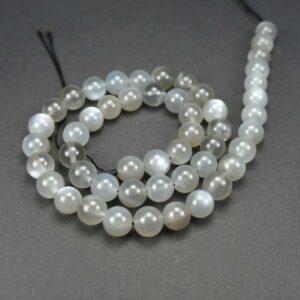 A-grade moonstone balls gray 8 mm, 1 strand
