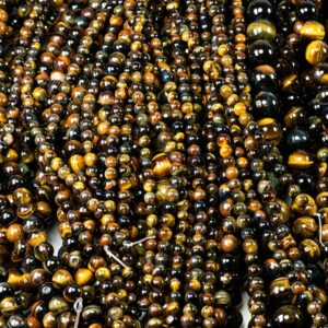 Tiger eye plain round multicolored 4 – 10 mm, 1 strand