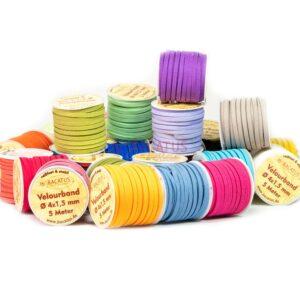 Velor ribbon color selection Ø 4×1.5mm 5m (€ 0.50 / m)