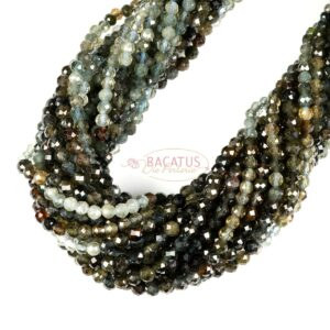 Tourmaline faceted round gray green 3 mm, 1 strand