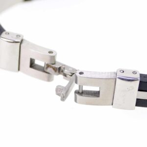 Edelstahl Armband Herrenschmuck silber-schwarz 21,5 cm