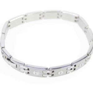 Stainless steel bracelet men's jewelry silver matt 21.5 cm