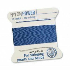 Perlseide Nylon Power blau Kärtchen 2m (0,70€/m)