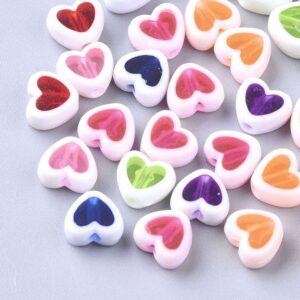 Perlenmix bunte Herzen Acryl 7,5×8,5mm