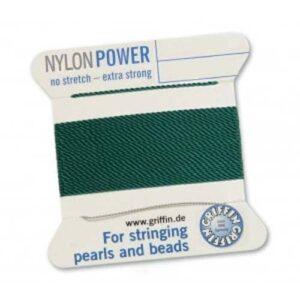 Perlseide Nylon Power dunkelgrün Kärtchen 2m (0,70€/m)