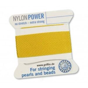 Perlseide Nylon Power hellgelb Kärtchen 2m (0,70€/m)