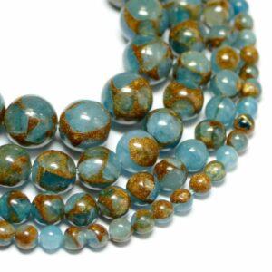 Jade Kugel hellblau Goldfluss 4 – 10 mm, 1 Strang