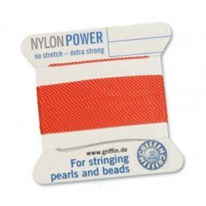 Fil de soie nylon power Cartes rouge corail 2m (0,70 € / m)