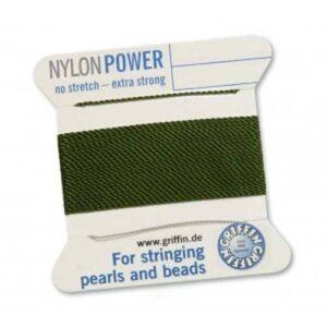 Perlseide Nylon Power olive Kärtchen 2m (0,70€/m)