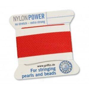 Perlseide Nylon Power rot Kärtchen 2m (0,70€/m)