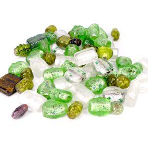 Glasperlen Mix Lampwork Groß grün *Sonderposten* 550g