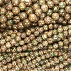 Agata tibetana motivo 3 occhi marrone verde 6-14 mm, 1 capo