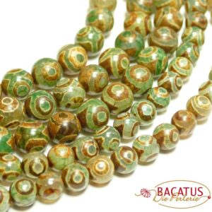Agate 3 – eyes green 8 mm, 1 strand