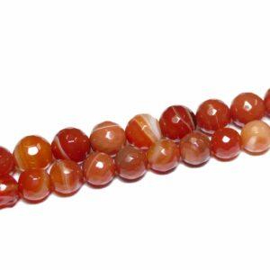 Sfera di agata struttura rossa sfaccettata 10 – 12 mm, 1 filo