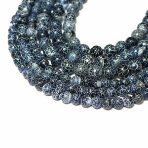 Palla di agata screpolata nero blu 6 & 8 mm, 1 capo 1