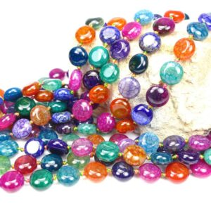 Agate coins colored 12 mm, 1 strand