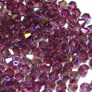Crystal beads Bicone PRECIOSA amethyst AB 3 – 6 mm