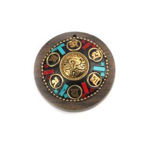 buddhistischer Holzanhänger Glückszeichen 47mm