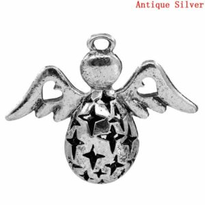 Metallperle Charm Engel mit Flügel 3,5×2,8 cm