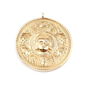 Pendant Buddha metal, gold-plated 28x25mm