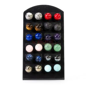 Stud earrings plain rounds gemstone mix, 12 pairs with display