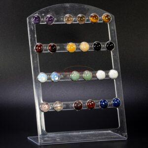 Clous d'oreilles Carbochon pierres précieuses mix, 12 paires avec présentoir