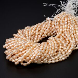 Freshwater pearls olive rose approx. 4 x 5 mm, 1 strand