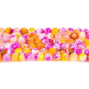 Achat Kugel facettiert pink orange 6 -12mm, 1 Strang