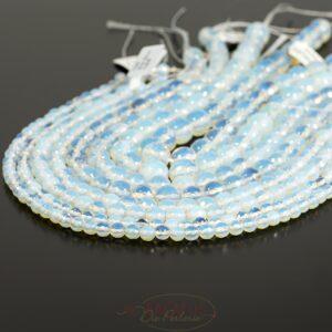 Sfera opale sfaccettata bianca 3 – 16 mm, 1 filo