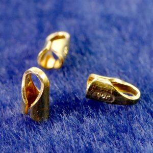 Endkappen für Leder 925 Silber *vergoldet* Ø 1,5-2 mm