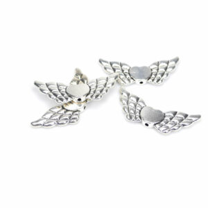Metal bead wing with heart 22 and 40 mm