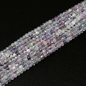 Fluorit Kugel facettiert lila ca. 2 mm, 1 Strang