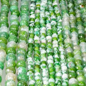 Fire agate ball faceted cracked green 6 – 10 mm, 1 strand