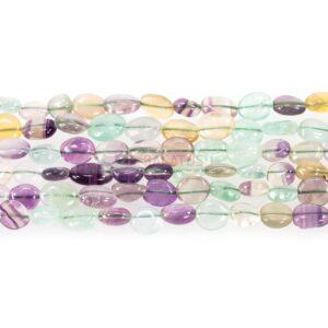 Regenbogenfluorit polierte Nuggets 9 x 12 mm, 1 Strang