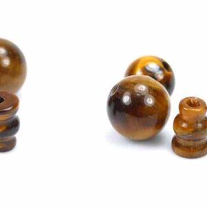 Guru Perle chin. Glückssymbol Tigerauge 8 & 10 mm, 2-teil. Set