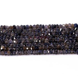 Iolite rondelle facetté marron violet formé libre, 1 fil