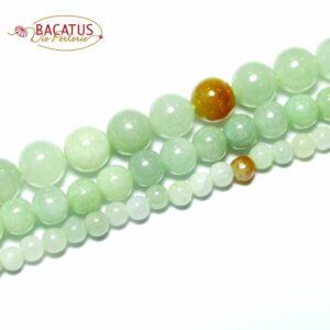 Sfera di giadeite verde menta bianco 4 – 8 mm, 1 capo