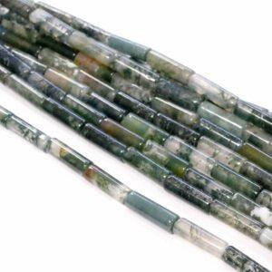 Moss agate tubes green 4 x 13 mm, 1 strand