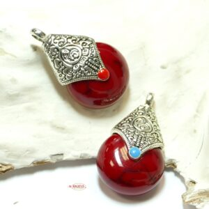 Tibetan Style Anhänger Tropfen rot 38×22 mm